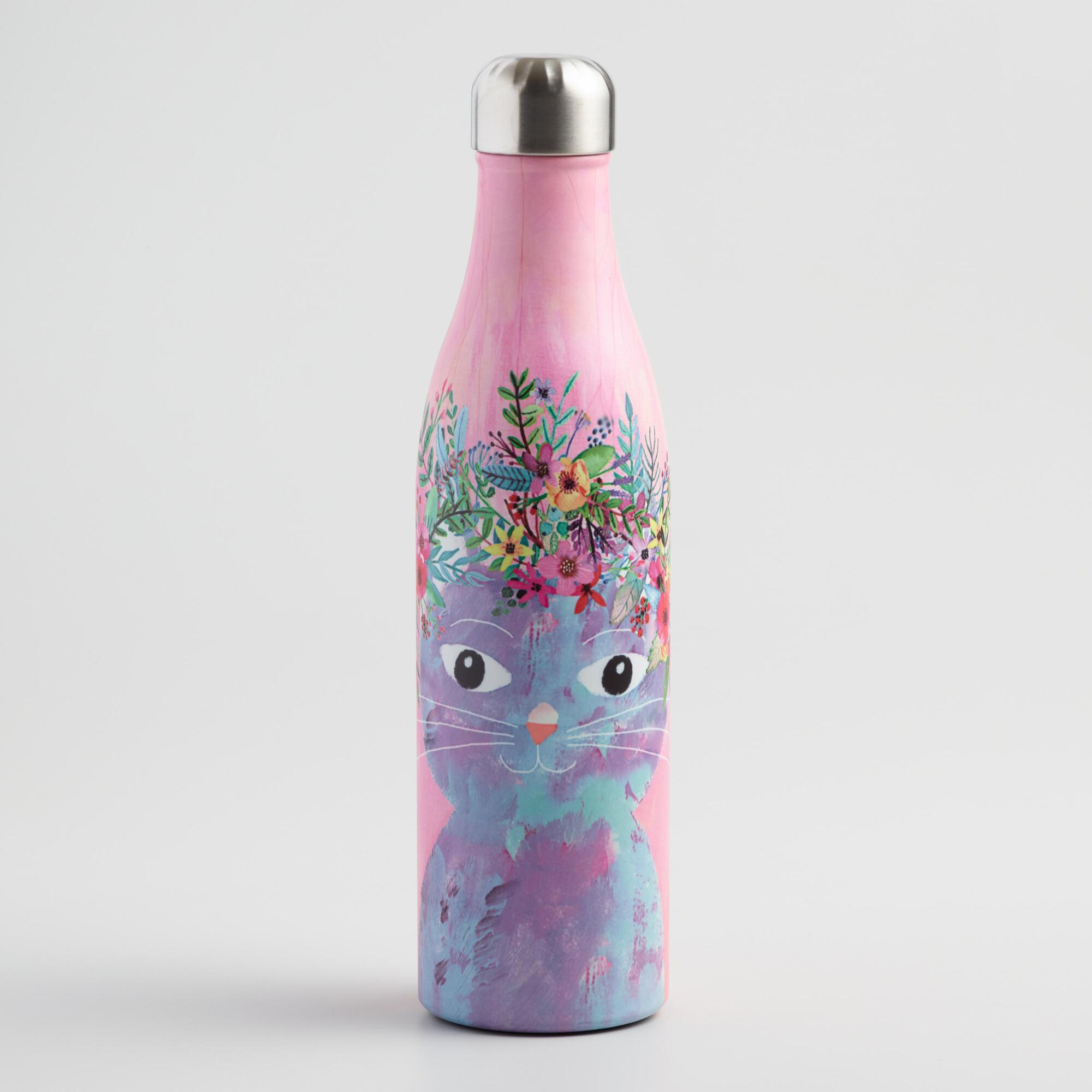Large Fancy Cat Insulated Stainless Steel Water Bottle by World Market