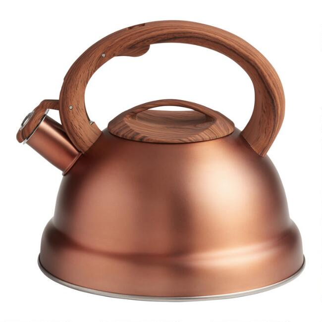Brushed Copper Tea Kettle With Rubber Base