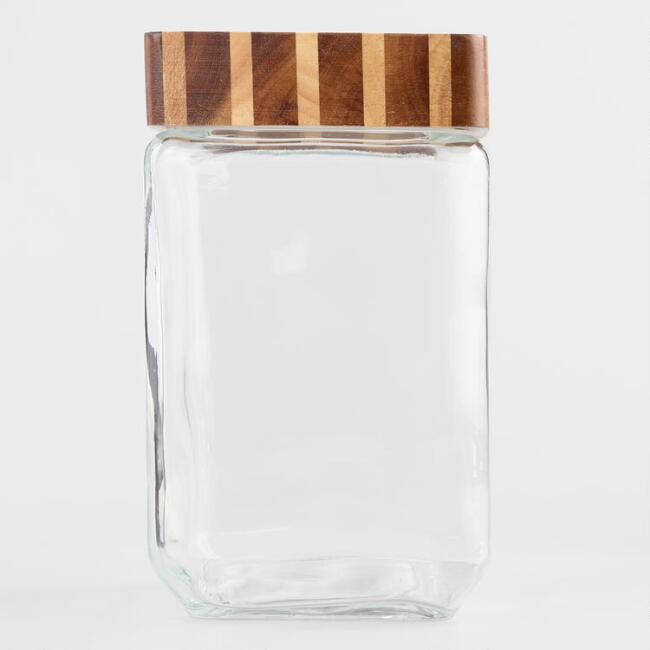 Large Square Glass Storage Canister with Wood Lid