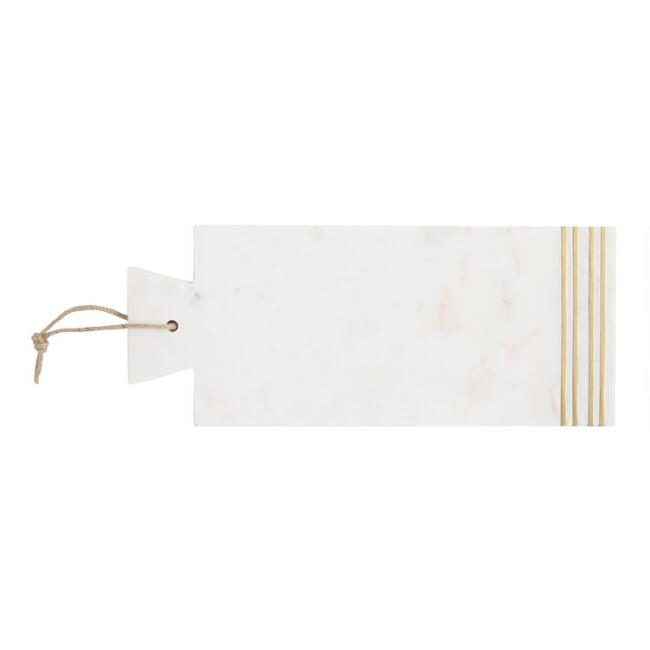 Marble and Brass Inlay Cheese Cutting Board