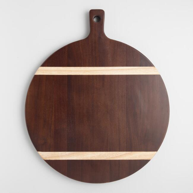 Large Striped Acacia Wood Paddle Cutting Board