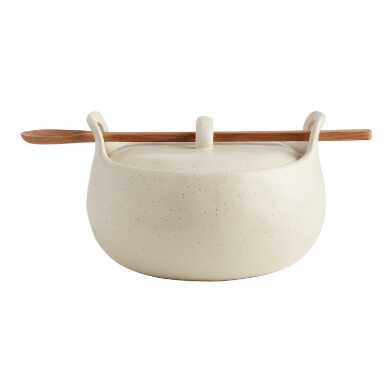 Round Speckled Covered Ceramic Baker With Spoon