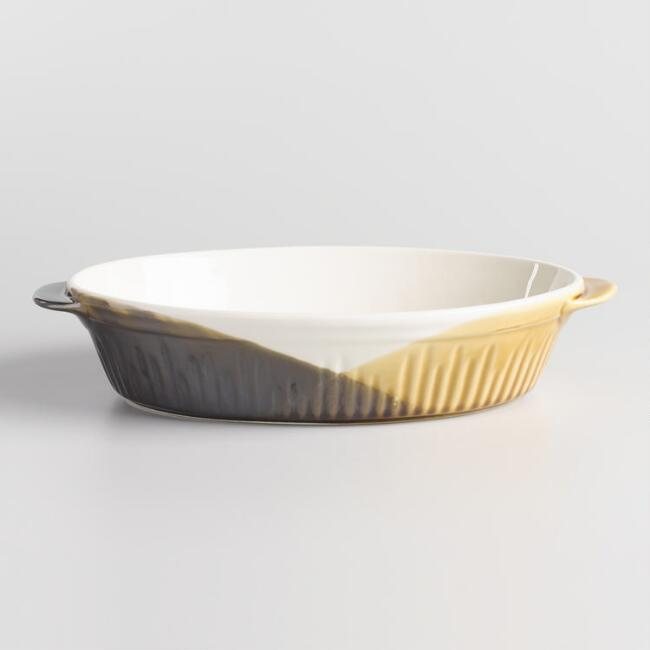 Oval Yellow and Brown Reactive Glaze Ceramic Baker