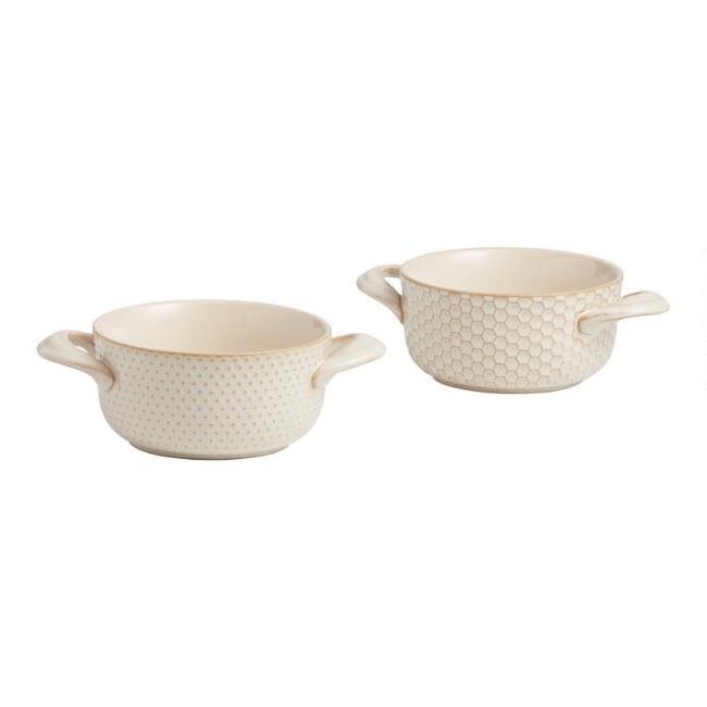 Textured Stoneware Double Handled Soup Crocks Set of 2