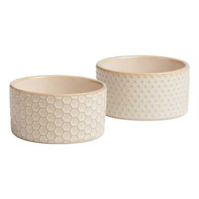 Textured Ceramic Ramekins Set Of 2