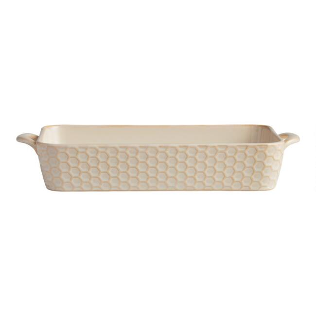 Medium Rectangular Textured Stoneware Baker