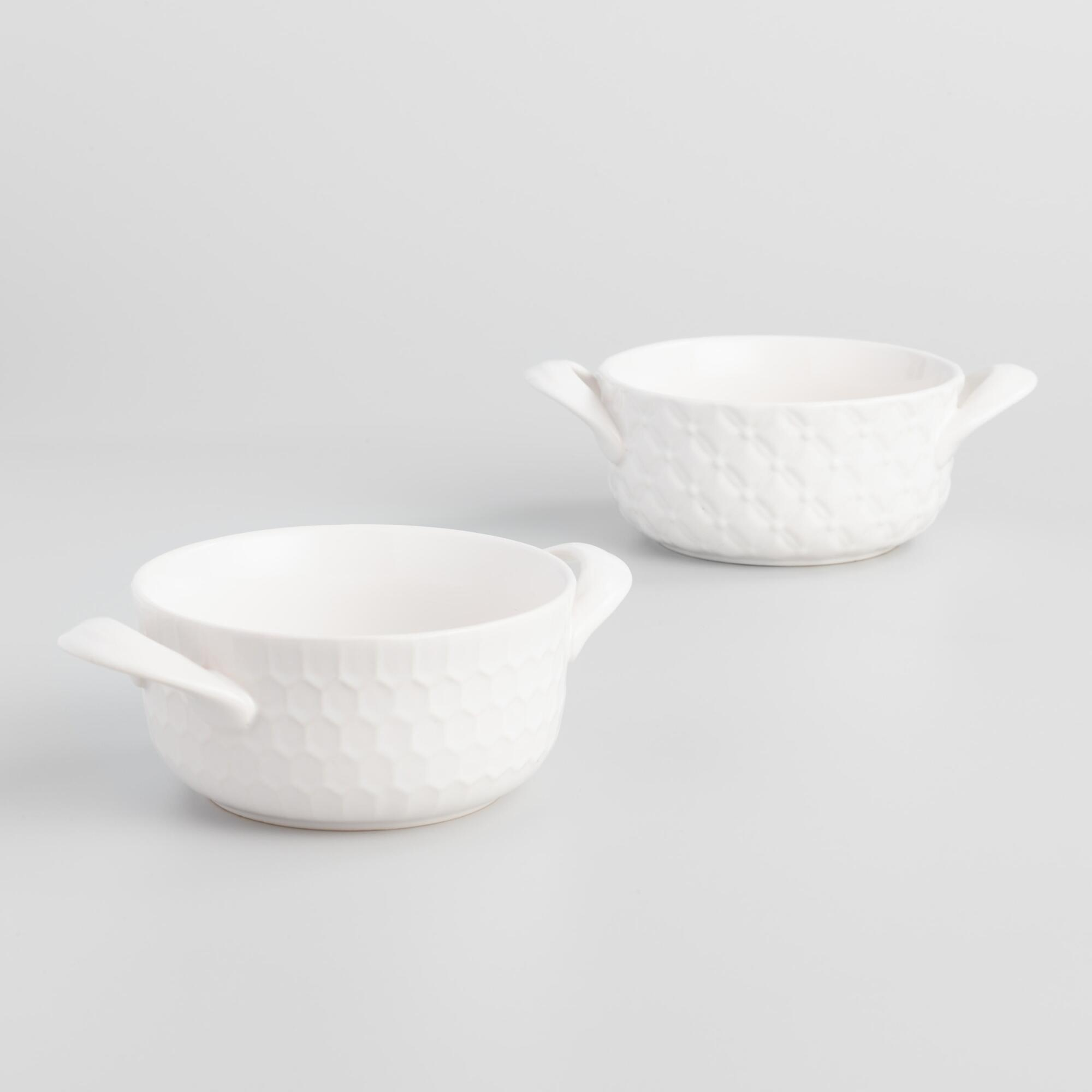 White Textured Stoneware Double Handled Soup Crocks Set of 2 by World Market