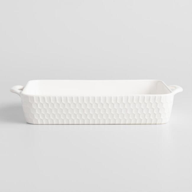 Medium White Rectangular Textured Stoneware Baker