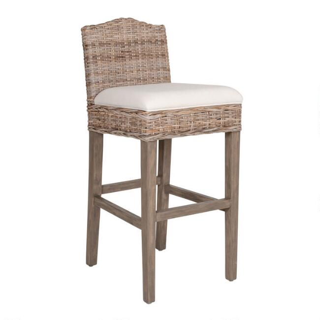 Light Gray Rattan and Teak Bea Barstool with Cushion