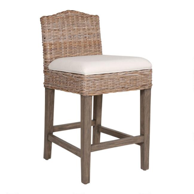 Light Gray Rattan and Teak Bea Counter Stool