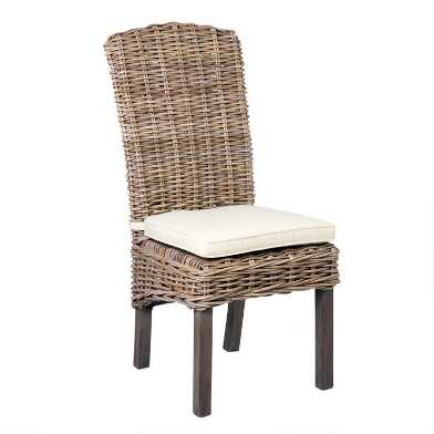 Driftwood Rattan Dining Chairs with Cushion Set of 2