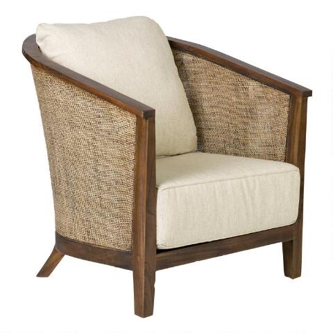 Rattan And Teak Tawney Club Chair With