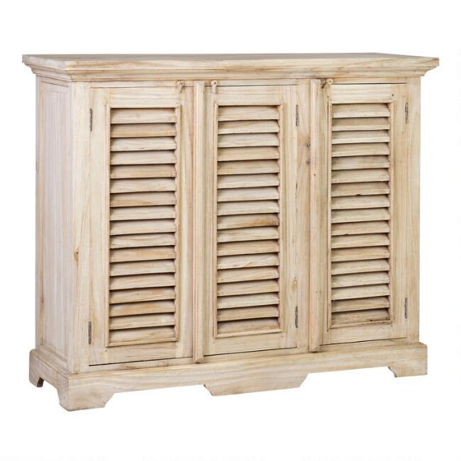 Natural Wood Shutter Door Noam Storage Cabinet
