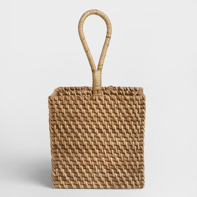 Rattan 4-Section Caddy, Honey