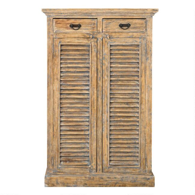 Tall Natural Wood Shutter Door Noam Storage Cabinet