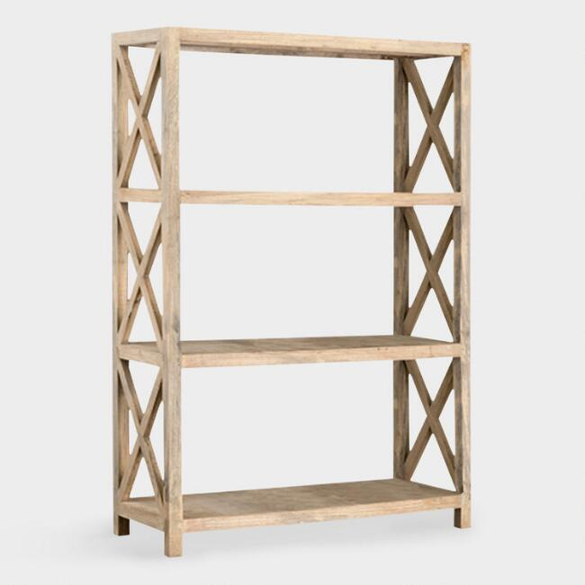 Large Natural Wood Farmhouse Noam Bookshelf