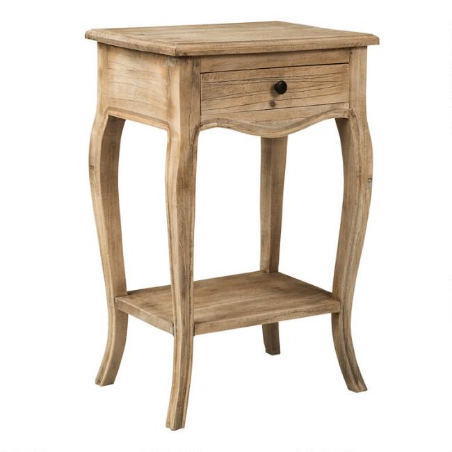 Natural Wood Noam Accent Table with Drawer