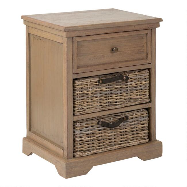 Gray Wood Delilah Nightstand with Rattan Baskets