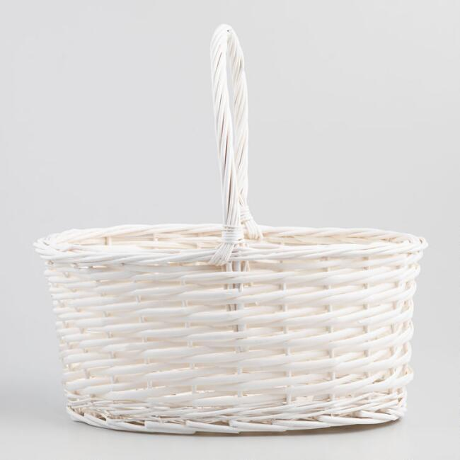 Large White Oval Isabella Basket