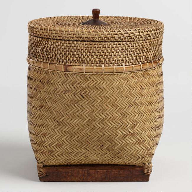 Rattan And Bamboo Square Bottom Lombok Basket With Lid