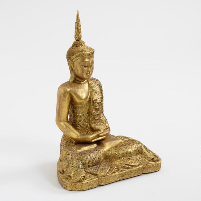 Gold Wood Sitting Buddha Statue