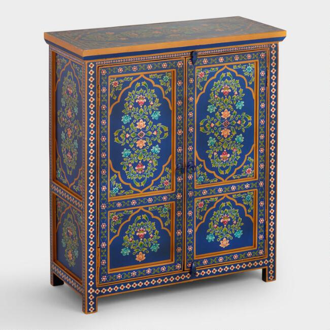Painted Wood Floral Cabinet