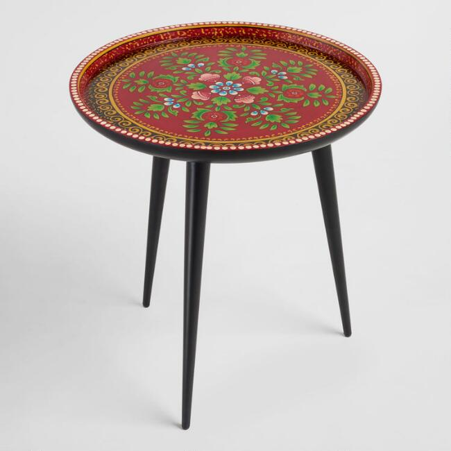 Round Red Hand Painted Floral Accent Table