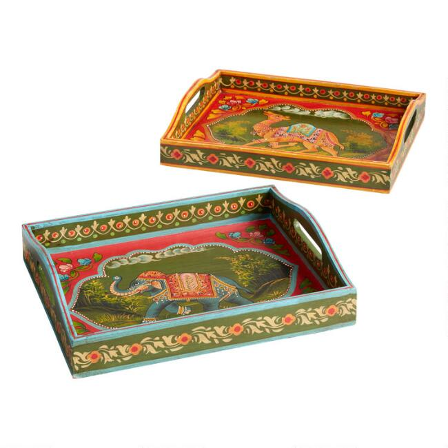 Small Hand Painted Wood Trays Set of 2