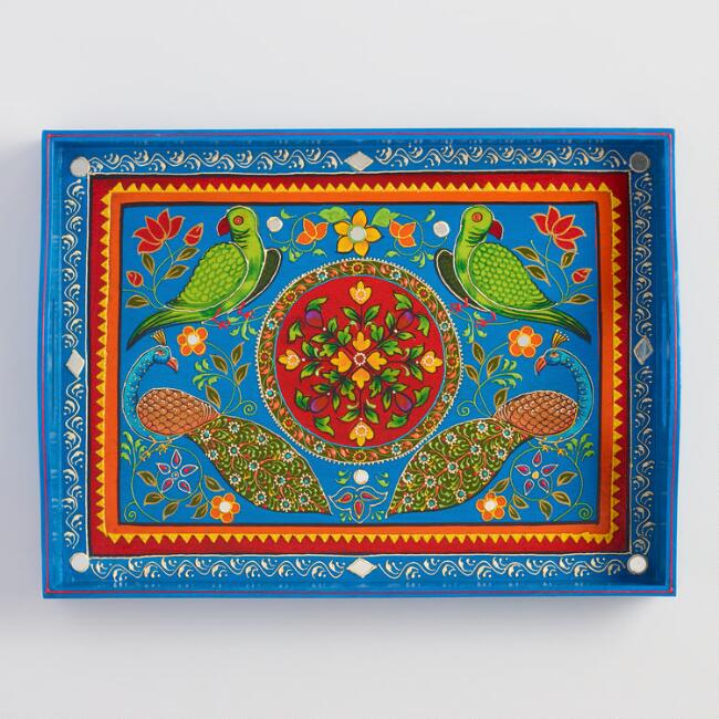 Large Hand Painted Wood Tray