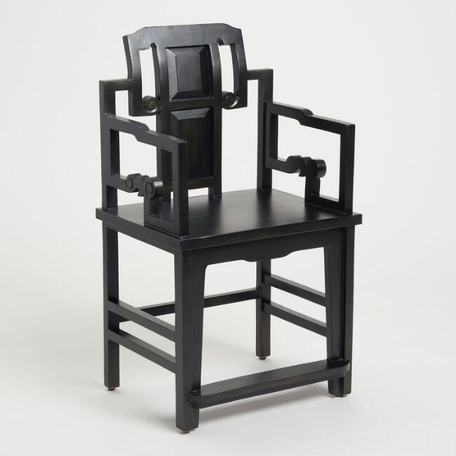 Black Geometric Lacquer Chair