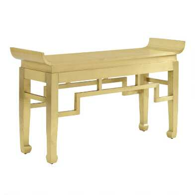 Metal Clad Asian Inspired Console Table