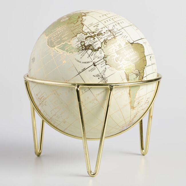 Neutral and Gold Globe on Hairpin Legs