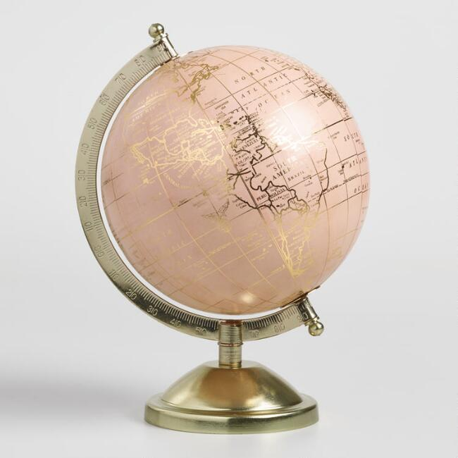 Blush and Gold Globe on Brass Stand