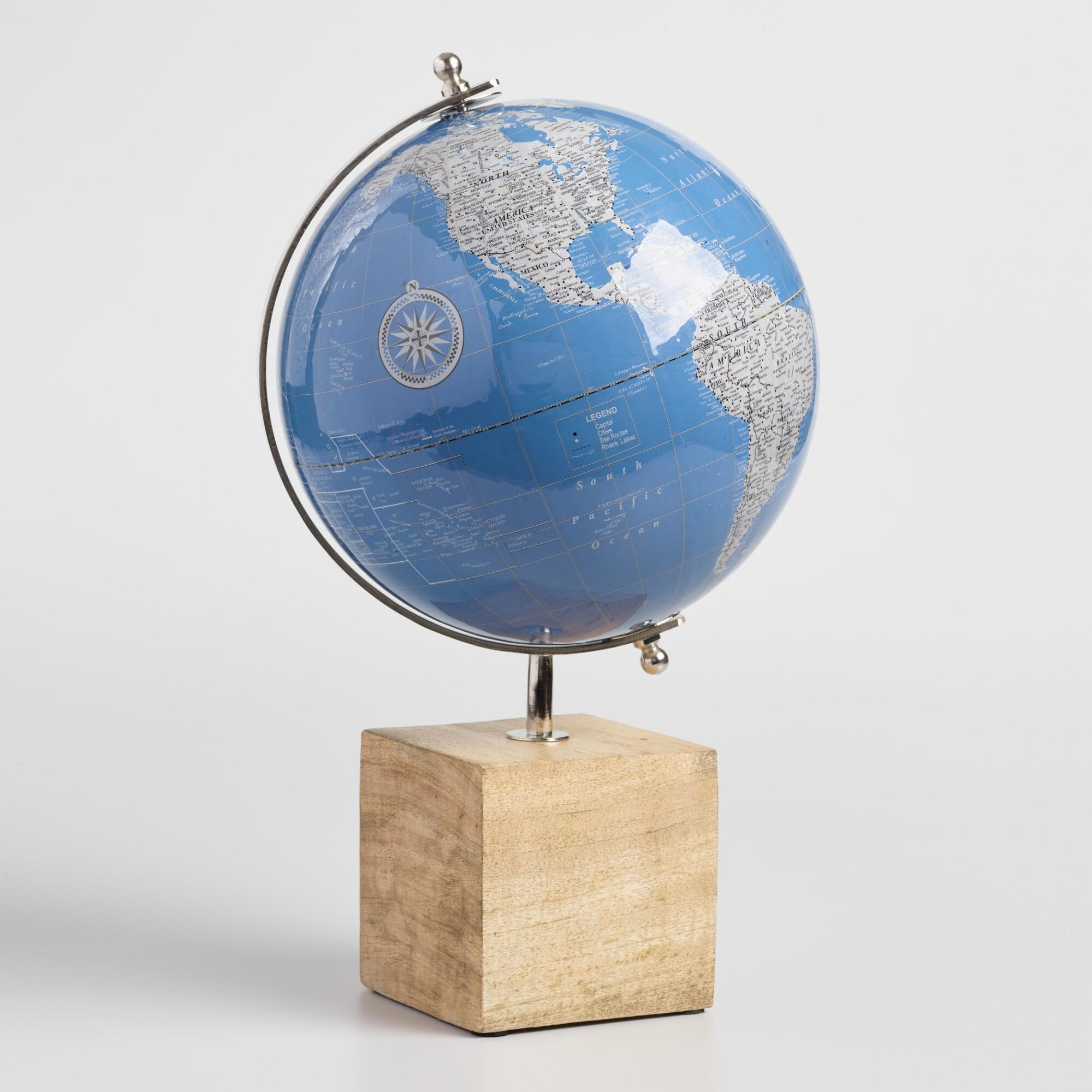 Lacquered Blue Globe on Wood Base by World Market