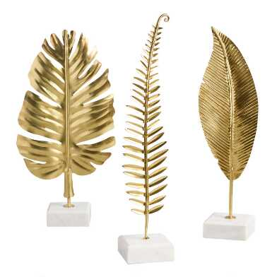 Gold Leaf on Marble Stand Decor Set of 3