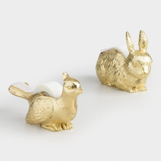 Gold Bunny and Bird Tape Dispensers Set of 2