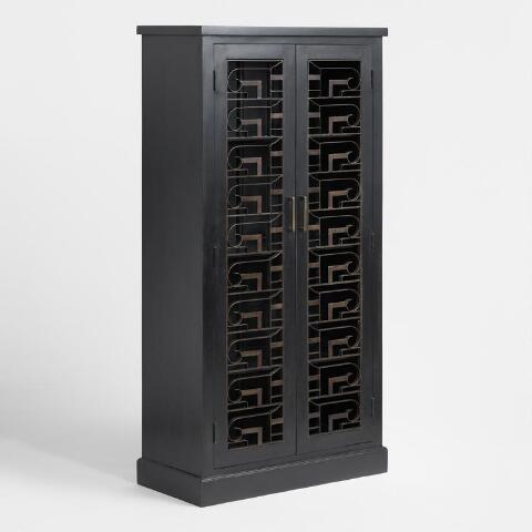 Tall Wood And Metal Art Deco Storage Cabinet