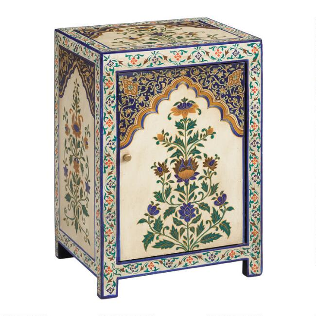 Hand Painted Blue Floral Mughal Cabinet