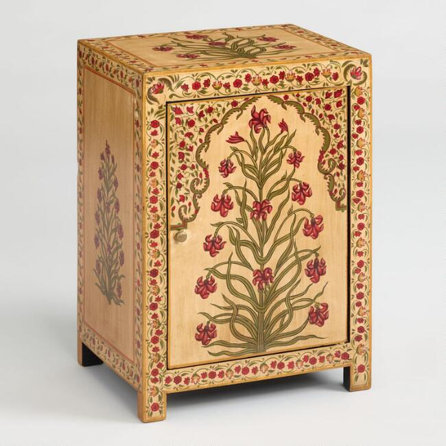 Hand Painted Red Floral Mughal Cabinet
