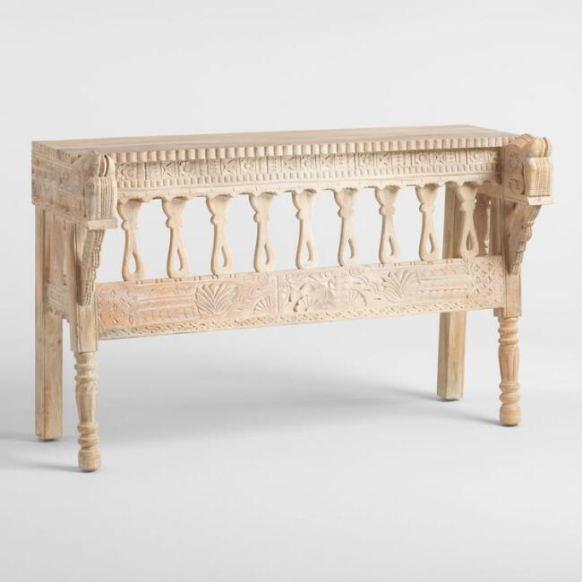 Whitewash Wood Horse Head Console Table