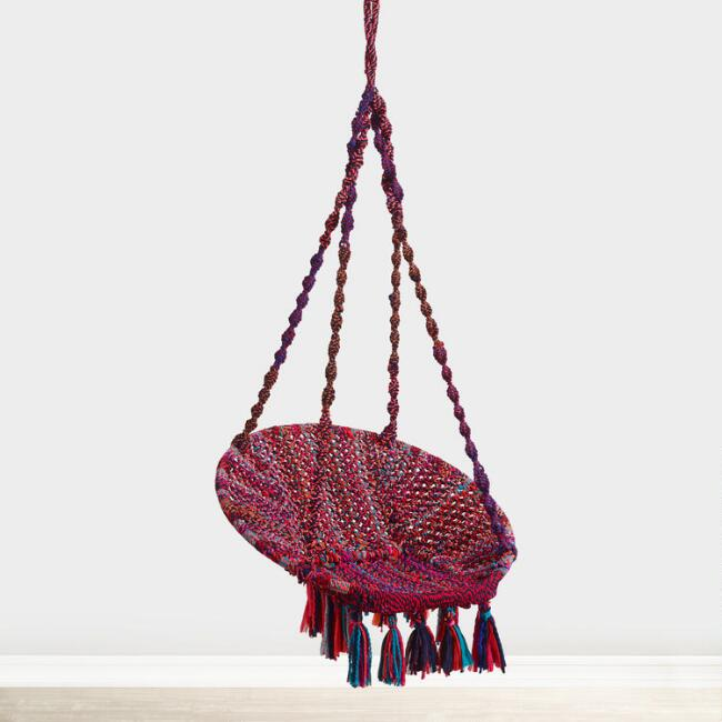 Multicolor Chindi Hanging Chair