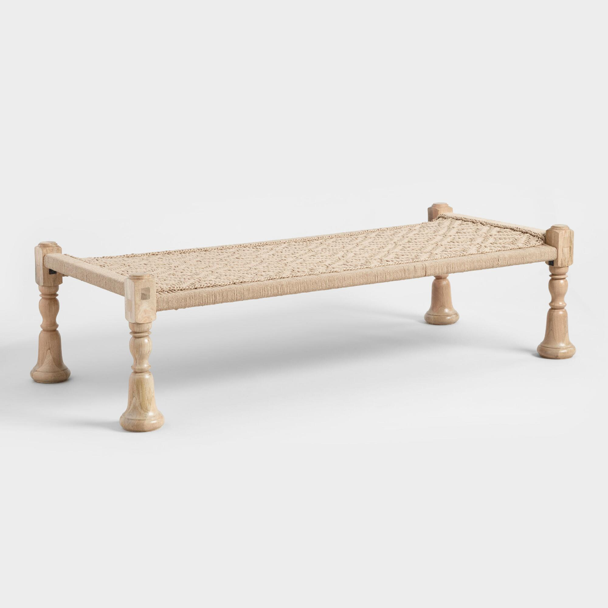 Jute and Wood Charpoy Bench by World Market