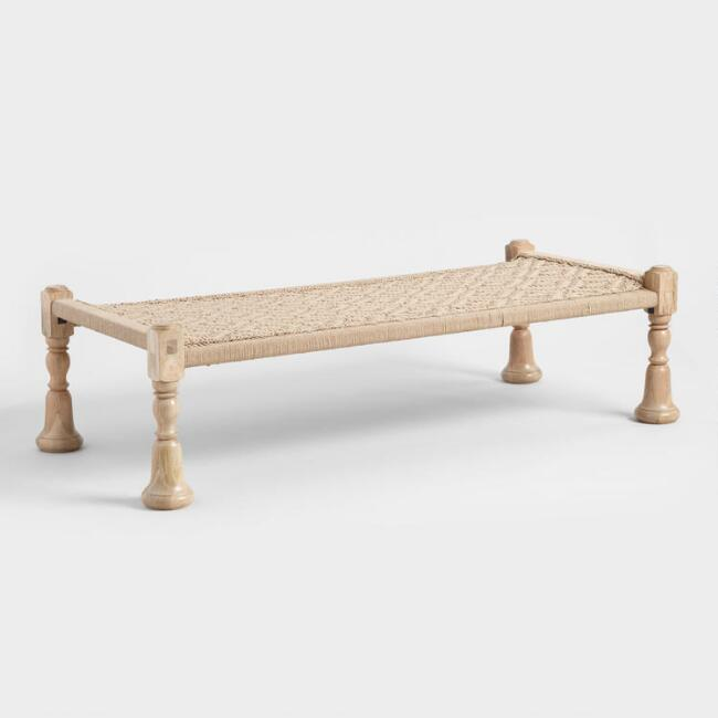 Jute and Wood Charpoy Bench