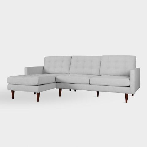 Prime Pearl Gray Ennis Left Facing Sectional Sofa Gmtry Best Dining Table And Chair Ideas Images Gmtryco
