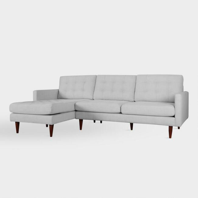 Pearl Gray Ennis Left Facing Sectional Sofa