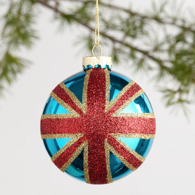 Glass Union Jack Ball Ornaments Set of 2