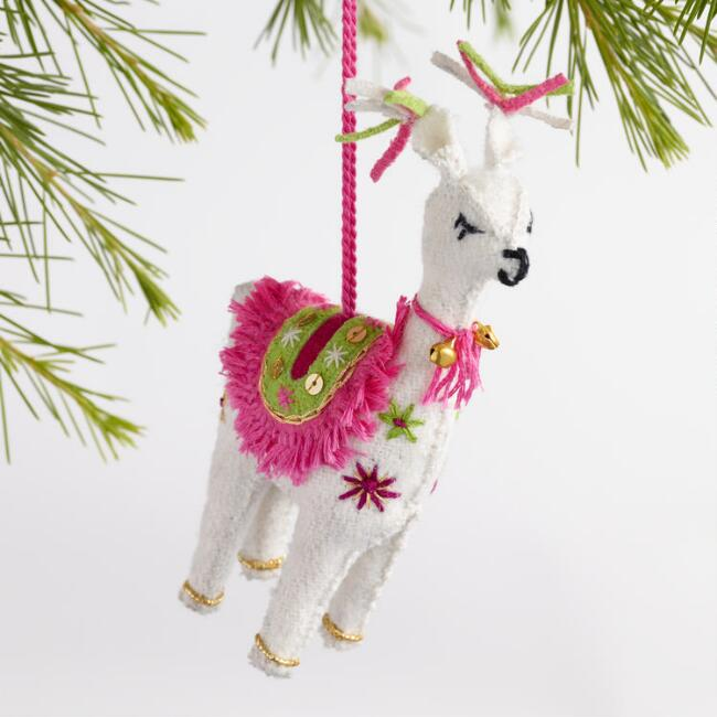 hand stitched felt llama ornaments set of 3