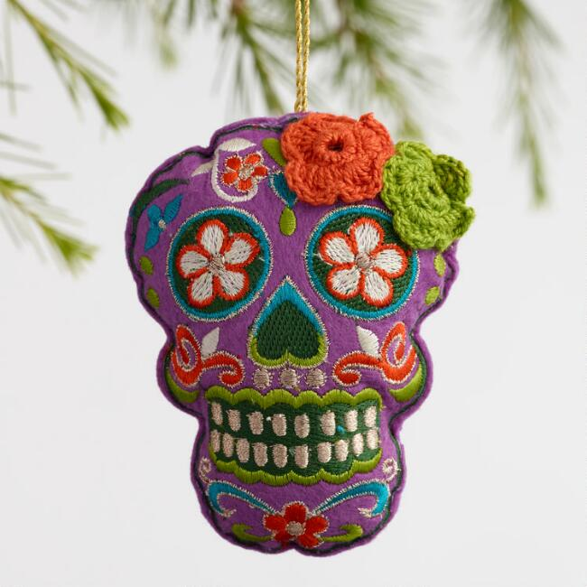Fabric Day of the Dead Skull Ornaments Set of 3