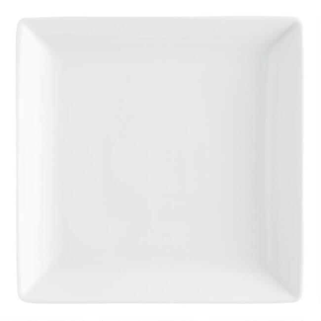 Square White Porcelain Coupe Dinner Plates Set Of 4