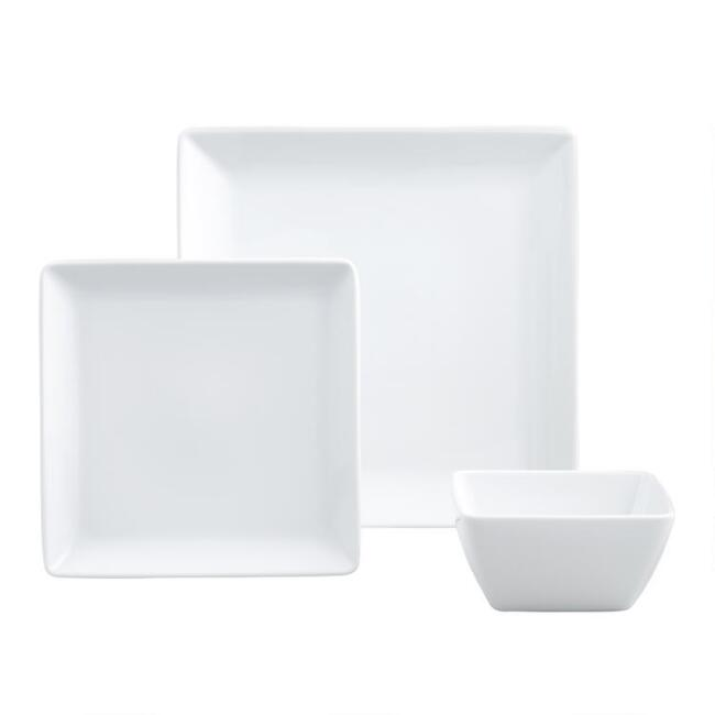 White Coupe Square Dinnerware
